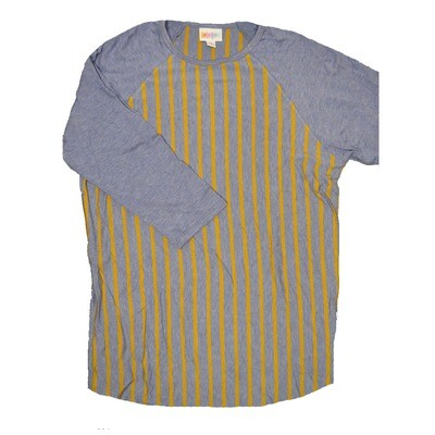 LuLaRoe RANDY Medium Purple Gold Stripe with Purple Raglan Sleeve Unisex Baseball Tee Shirt - M fits 10-12