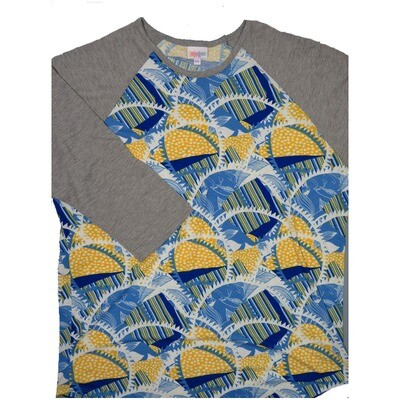 LuLaRoe RANDY XXX-Large Black Yellow White Geometric with Gray Raglan Sleeve Unisex Baseball Tee Shirt - XXXL fits 24-26