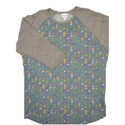 LuLaRoe RANDY X-Large Purple Orange Yellow Green Geometric Stripe with Gray Raglan Sleeve Unisex Baseball Tee Shirt - XL fits 18-20