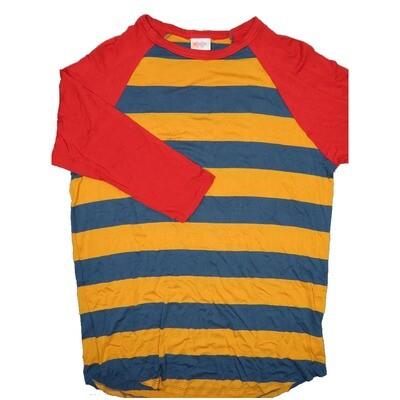LuLaRoe RANDY Large Gold Gun Metal Blue Stripe with Red Raglan Sleeve Unisex Baseball Tee Shirt - L fits 14-16