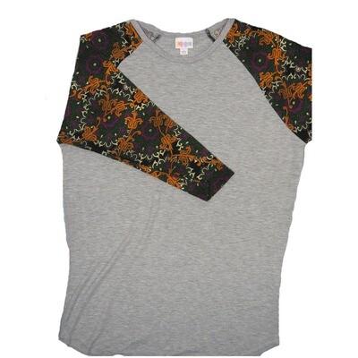 LuLaRoe RANDY Large Gray with Paosley Green Gold Purple  Raglan Sleeve Unisex Baseball Tee Shirt - L fits 14-16
