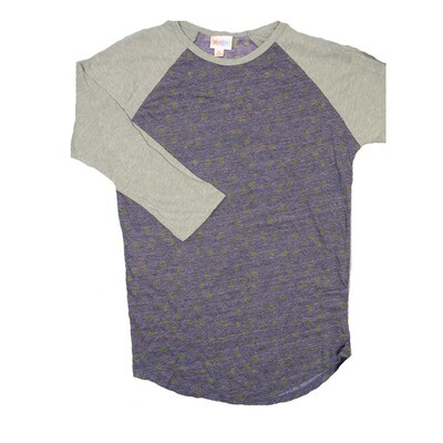 LuLaRoe RANDY X-Small Heathered Purple Gray Polka Dot with Gray Raglan Sleeve Unisex Baseball Tee Shirt - XS fits 2-4