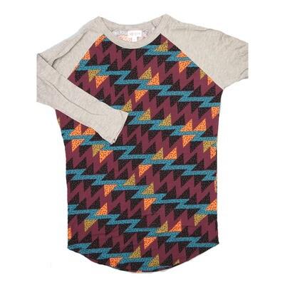 LuLaRoe RANDY X-Small Maroon Black Coral Gemoetric with Gray Raglan Sleeve Unisex Baseball Tee Shirt - XS fits 2-4