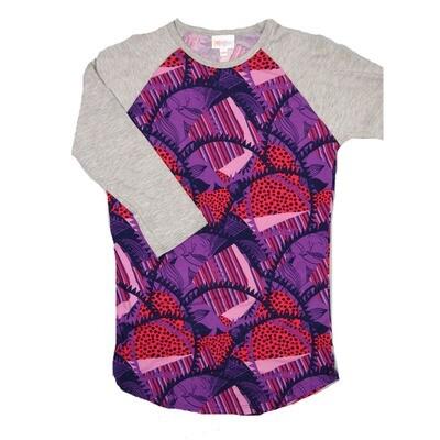 LuLaRoe RANDY XX-Small Purple Pink Lavender Geometric with Gray Raglan Sleeve Unisex Baseball Tee Shirt - XXS fits 00-0