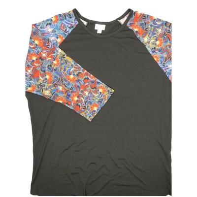 LuLaRoe RANDY XXX-Large Black with Purple Blue Red Floral Raglan Sleeve Unisex Baseball Tee Shirt - XXXL fits 24-26