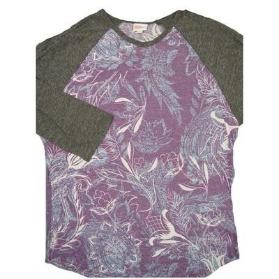 LuLaRoe RANDY XXX-Large Purple Slate Blue White Floral with Gray Raglan Sleeve Unisex Baseball Tee Shirt - XXXL fits 24-26
