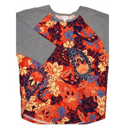 LuLaRoe RANDY XXX-Large Navy Light Blue Coral Paisley with Gray Raglan Sleeve Unisex Baseball Tee Shirt - XXXL fits 24-26