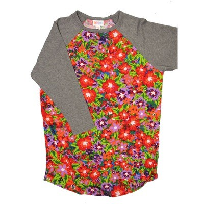 LuLaRoe RANDY X-Small Vibrant Red Green Purple Floral with Gray Raglan Sleeve Unisex Baseball Tee Shirt - XS fits 2-4