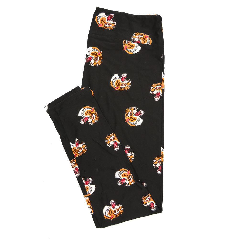 LuLaRoe Tall Curvy TC Leggings Black Orange White Tiger Bengal (TC fits 12-18) TC-7015-M