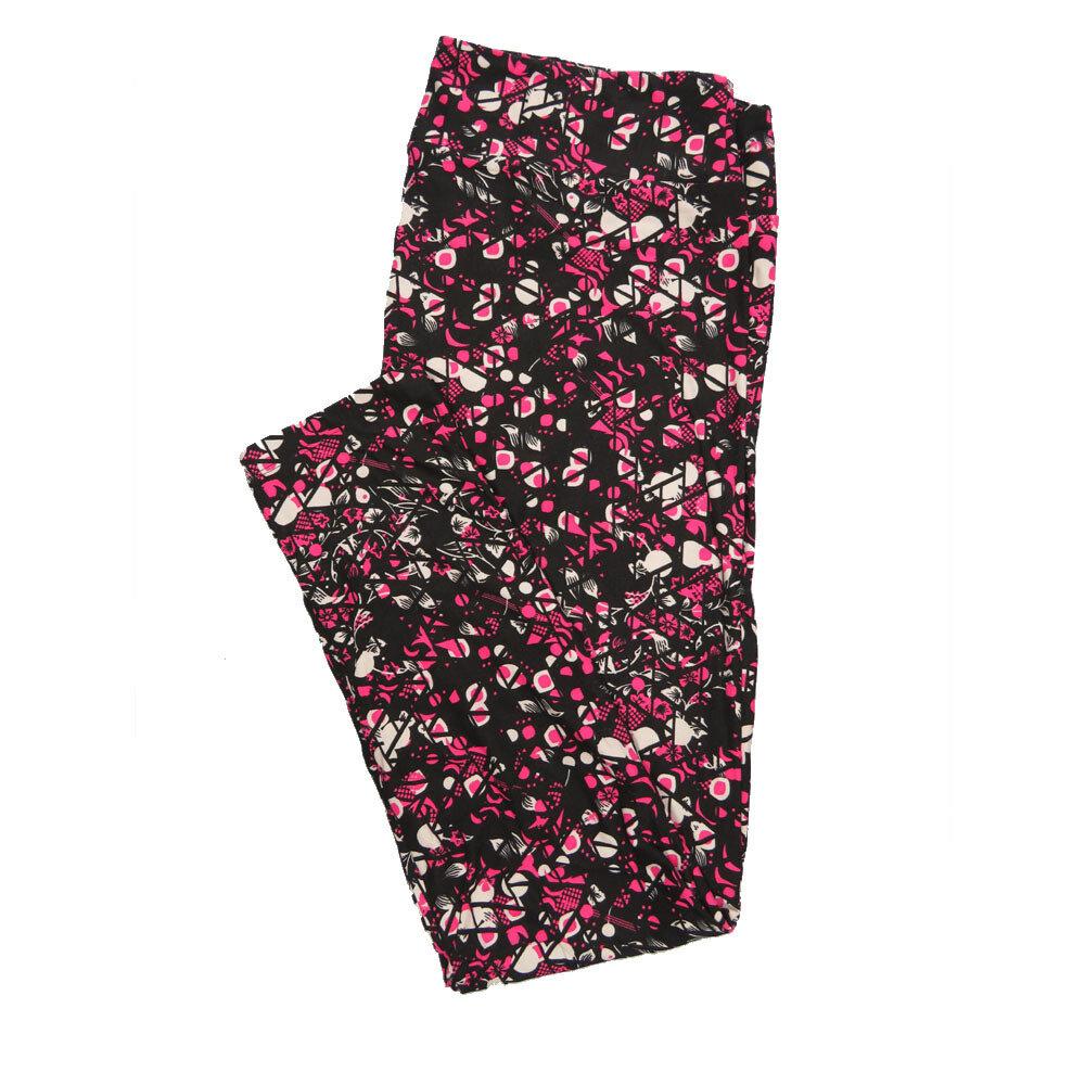 LuLaRoe Tall Curvy TC Leggings Black Fucshia Geometric Floral (TC fits 12-18) TC-7015-V