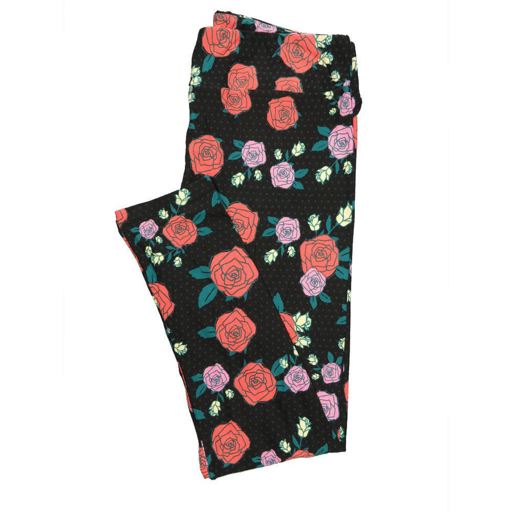 LuLaRoe Tall Curvy TC Leggings Black Peach Lavender Cream Roses Polka Dot (TC fits 12-18) TC-7015-Y
