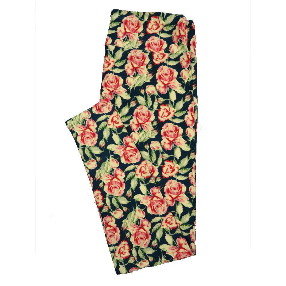 LuLaRoe Tall Curvy TC Leggings Black Pink Roses (TC fits 12-18) TC-7017-S