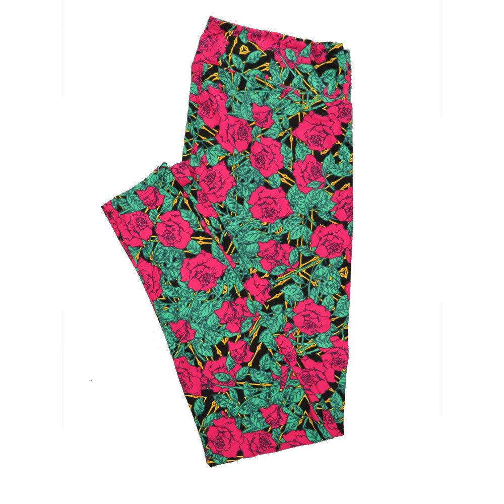 LuLaRoe Tall Curvy TC Leggings Pink Black Floral (TC fits 12-18) TC-7017-T