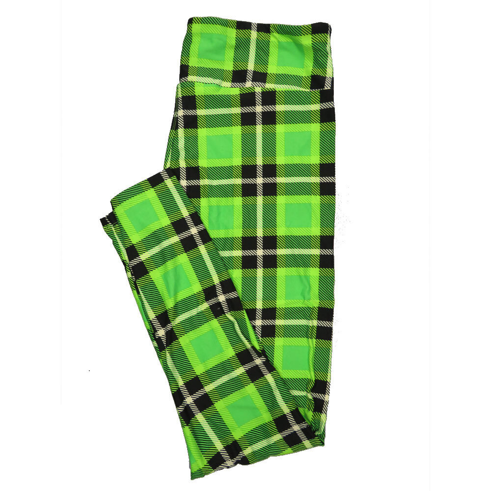 LuLaRoe Tall Curvy TC Leggings Green Gold Black Plaid (TC fits 12-18) TC-7017-X