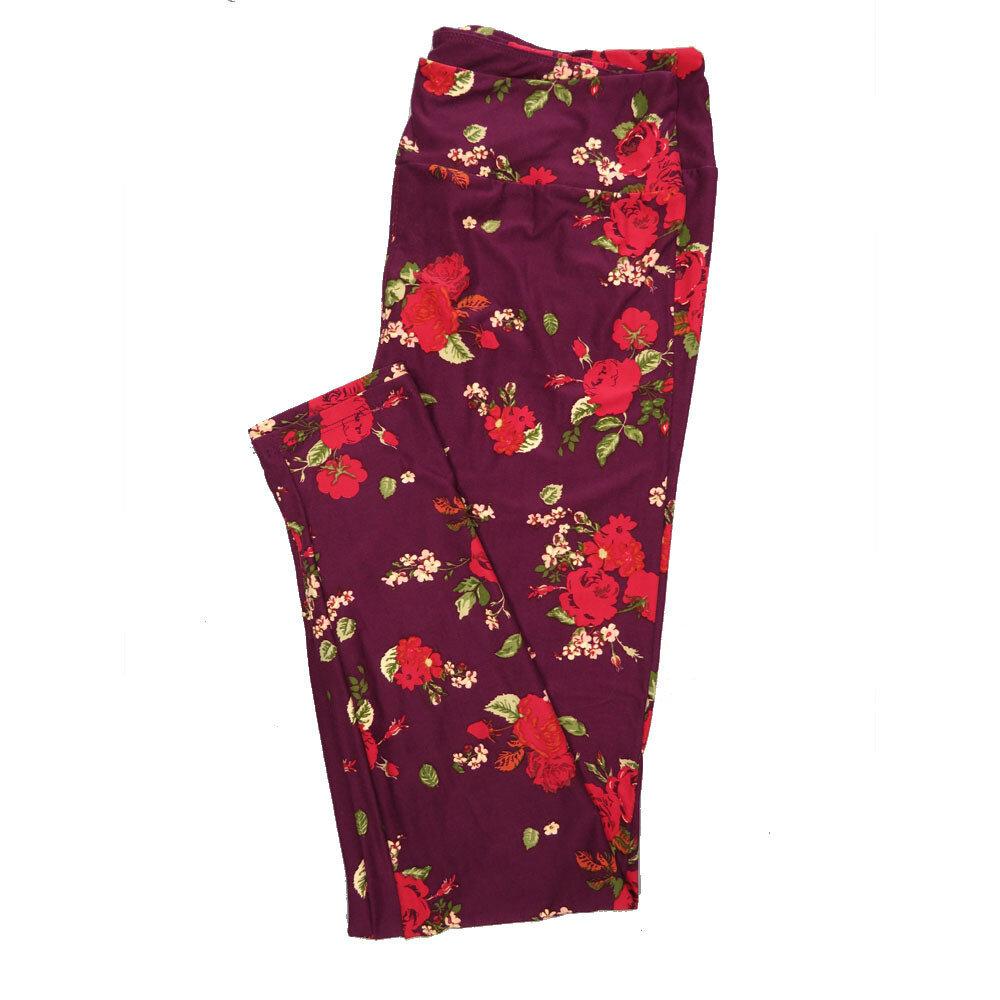 LuLaRoe Tall Curvy TC Leggings Roses (TC fits 12-18) TC-7026-D
