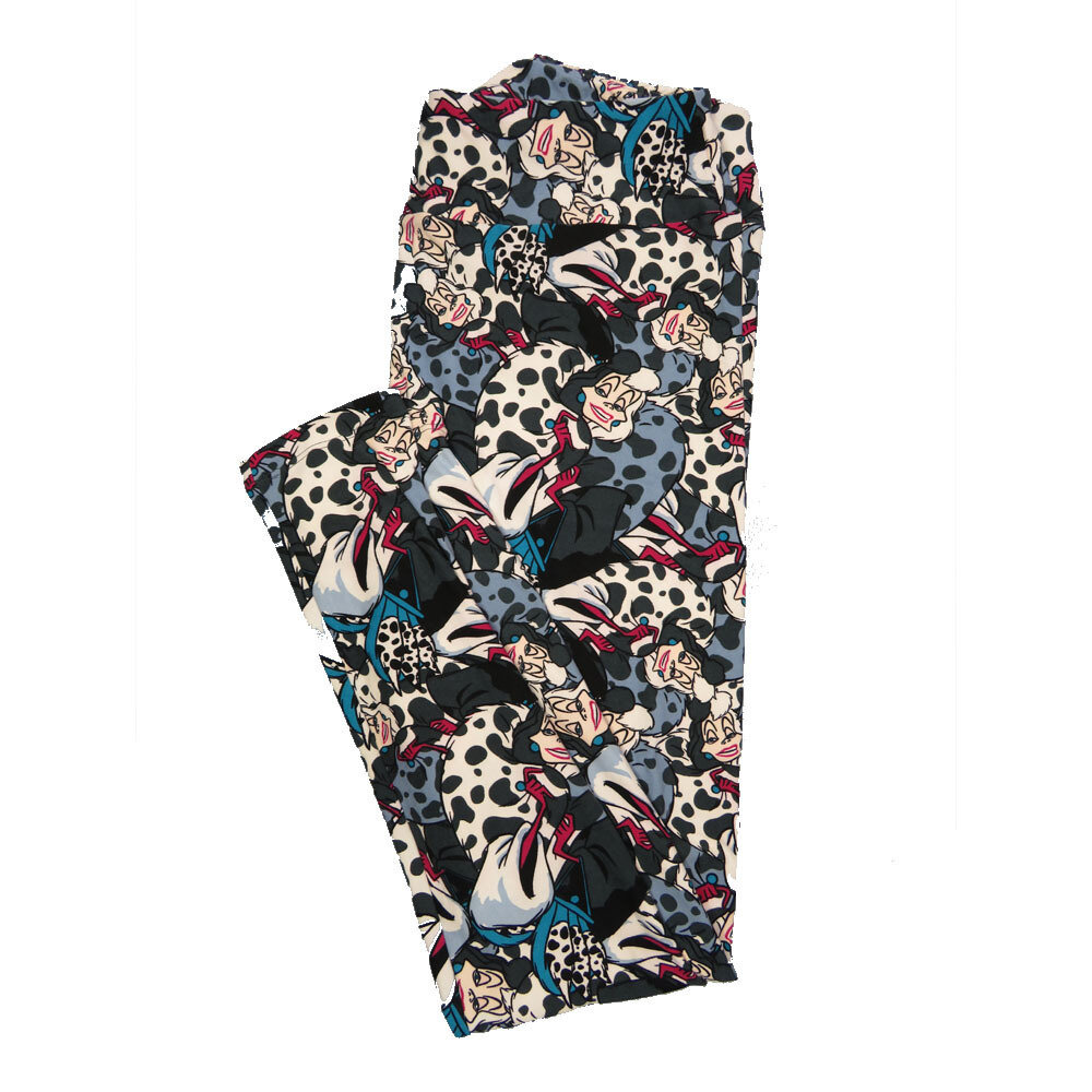LuLaRoe Tall Curvy TC Leggings Disney 101 Dalmations Cruella De Vil (TC fits 12-18) TC-7047-Q