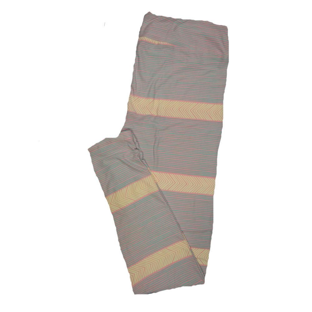 LuLaRoe Tall Curvy TC Leggings Stripe Zig Zag Chevron (TC fits 12-18) TC-7003-Y