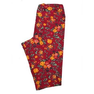 LuLaRoe Tall Curvy TC Leggings Roses (TC fits 12-18) TC-7024-X2