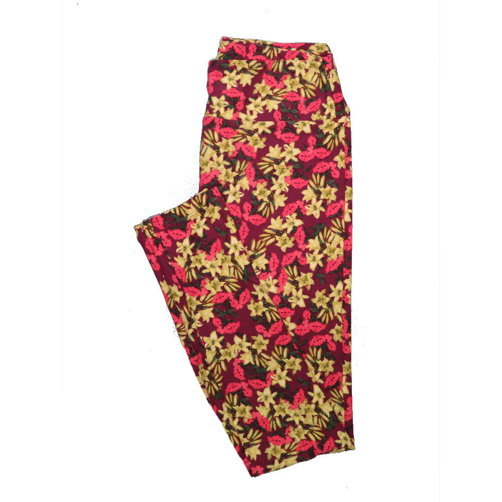 LuLaRoe One Size OS Floral Leggings (OS fits Adults 2-10) OS-4063-R