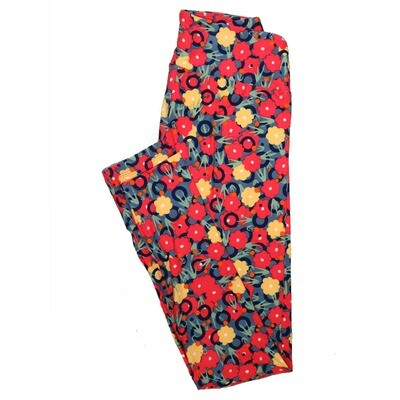 LuLaRoe One Size OS Floral Leggings (OS fits Adults 2-10) OS-4067-C2