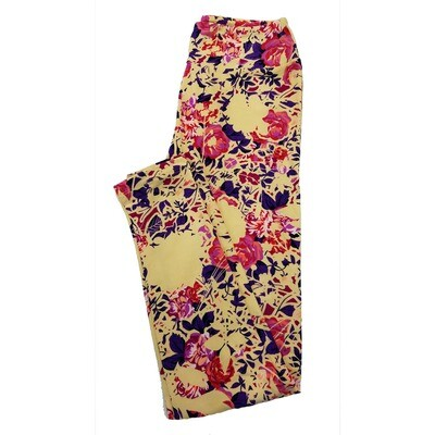 LuLaRoe One Size OS Floral Leggings (OS fits Adults 2-10) OS-4017-J