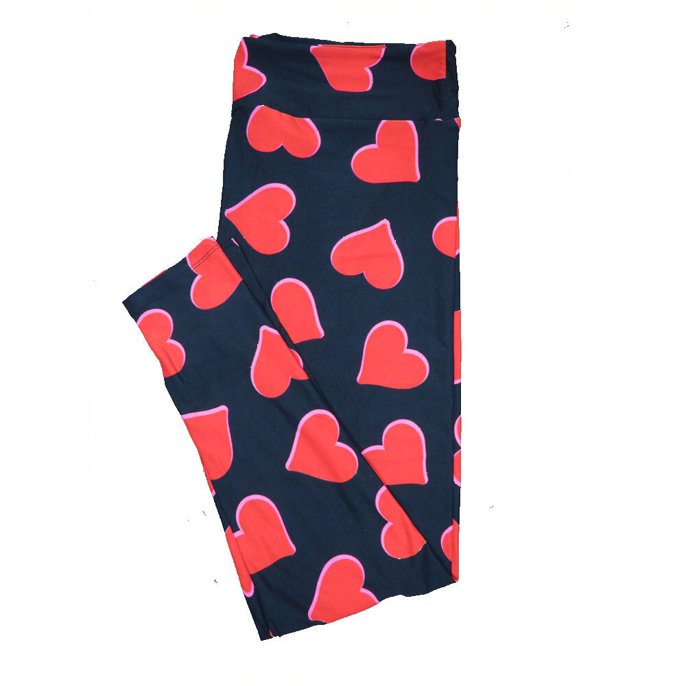LuLaRoe One Size OS Solid Black with Red Hearts and Pink Trim Love Valentines Leggings (OS fits Adults 2-10) OS-4200-F