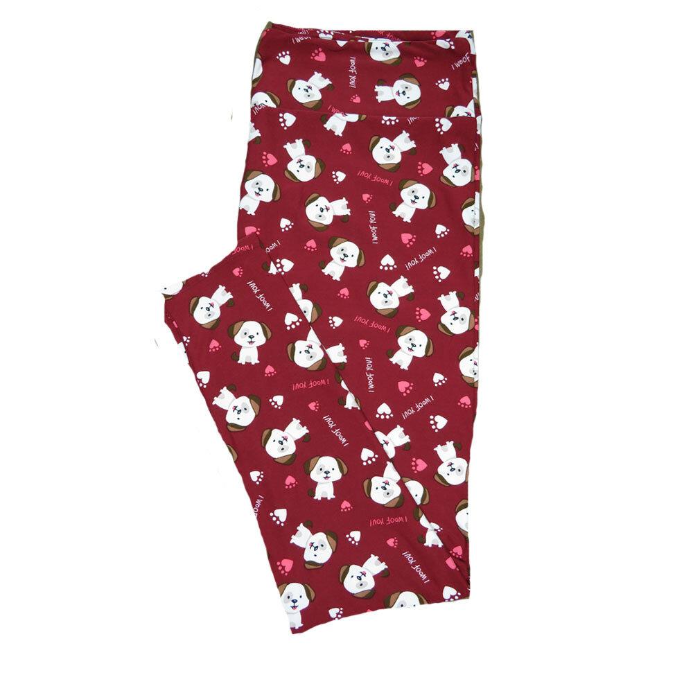 "LuLaRoe Tall Curvy TC ""I Woof You"" Sitting Puppy Dog Polka Dot Paw Print Red Green Black White Gray Hearts Leggings (TC fits Adults 12-18) TC-7209-G"