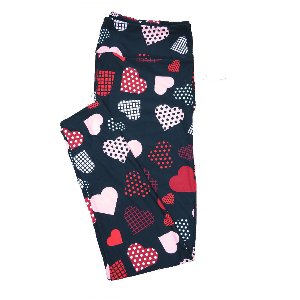 LuLaRoe Tall Curvy TC Solid Black w/ Red White and Polka Dot Grid Graph Hearts Love Valentines Leggings (TC fits Adults 12-18) TC-7211-E