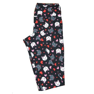 LuLaRoe One Size OS Black with Smiling Gray and White Male Female Kittens Kitty Cats w/ Bows and Red Pink Polka Dot Hearts Love Valentines Leggings (OS fits Adults 2-10) OS-4202-A