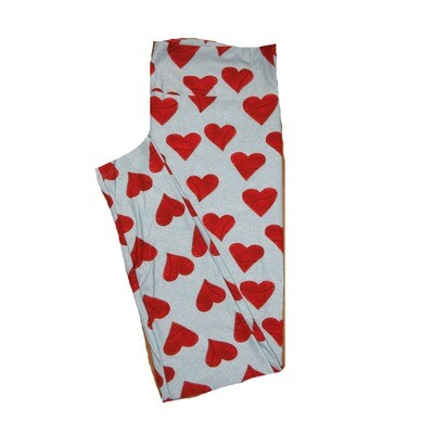 LuLaRoe One Size OS Solid Gray w/ Red Heart Patches Sewn Look Love Valentines Leggings (OS fits Adults 2-10) OS-4211-D3