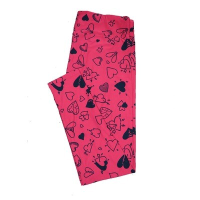 LuLaRoe One Size OS Red w/ Black Broken Split Fractured Connected Arrows Bleeding Hearts Love Valentines Leggings (OS fits Adults 2-10) OS-4208-M