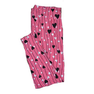 LuLaRoe One Size OS Pink with Black and White Floating Hearts on Strings Love Valentines Leggings (OS fits Adults 2-10) OS-4201-E