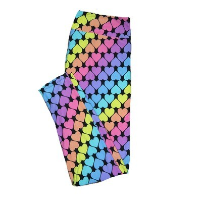 LuLaRoe One Size OS Black with Neon Rainbow Hearts Stripes Love Leggings (OS fits Adults 2-10) OS-4201-C