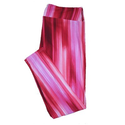 LuLaRoe One Size OS Dark Red to Little Pink Gradient Tye Dye Stripe Trippy 70's Psychedelic Love Valentines Leggings (OS fits Adults 2-10) OS-4211-I