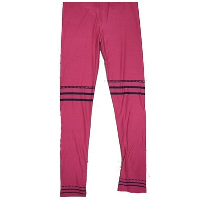 LuLaRoe One Size OS Solid Deep Blood Red with Three Stripes, Two Black and One Heart At Knees and Ankles Love Valentines Leggings (OS fits Adults 2-10) OS-4211-C