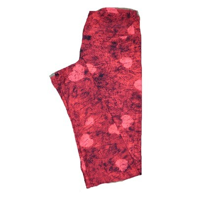 LuLaRoe One Size OS Abstract Trippy 70s Red and Black with Pink Hearts Love Valentines Leggings (OS fits Adults 2-10) OS-4206-C