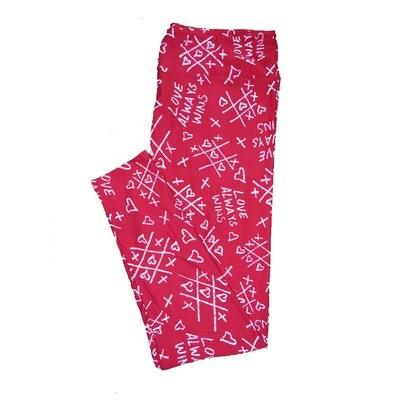 LuLaRoe Tall Curvy TC Red with Pink Tic Tac Toe Three Hearts in a Row Love Always Wins Love Valentines Leggings (TC fits Adults 12-18) TC-7206-B