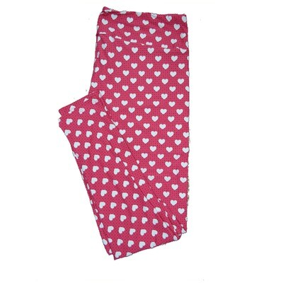 LuLaRoe Tall Curvy TC Pink and Dark Pink Polka Dots with White Hearts Love Valentines Leggings (TC fits Adults 12-18) TC-7206-F