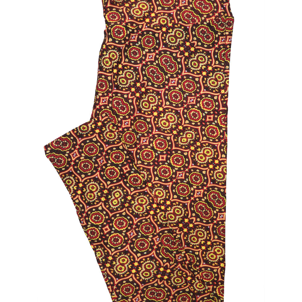 LuLaRoe Tall Curvy TC Mandala Black Maroon Yellow Geometric Leggings (TC fits Adults 12-18) TC-7221-E
