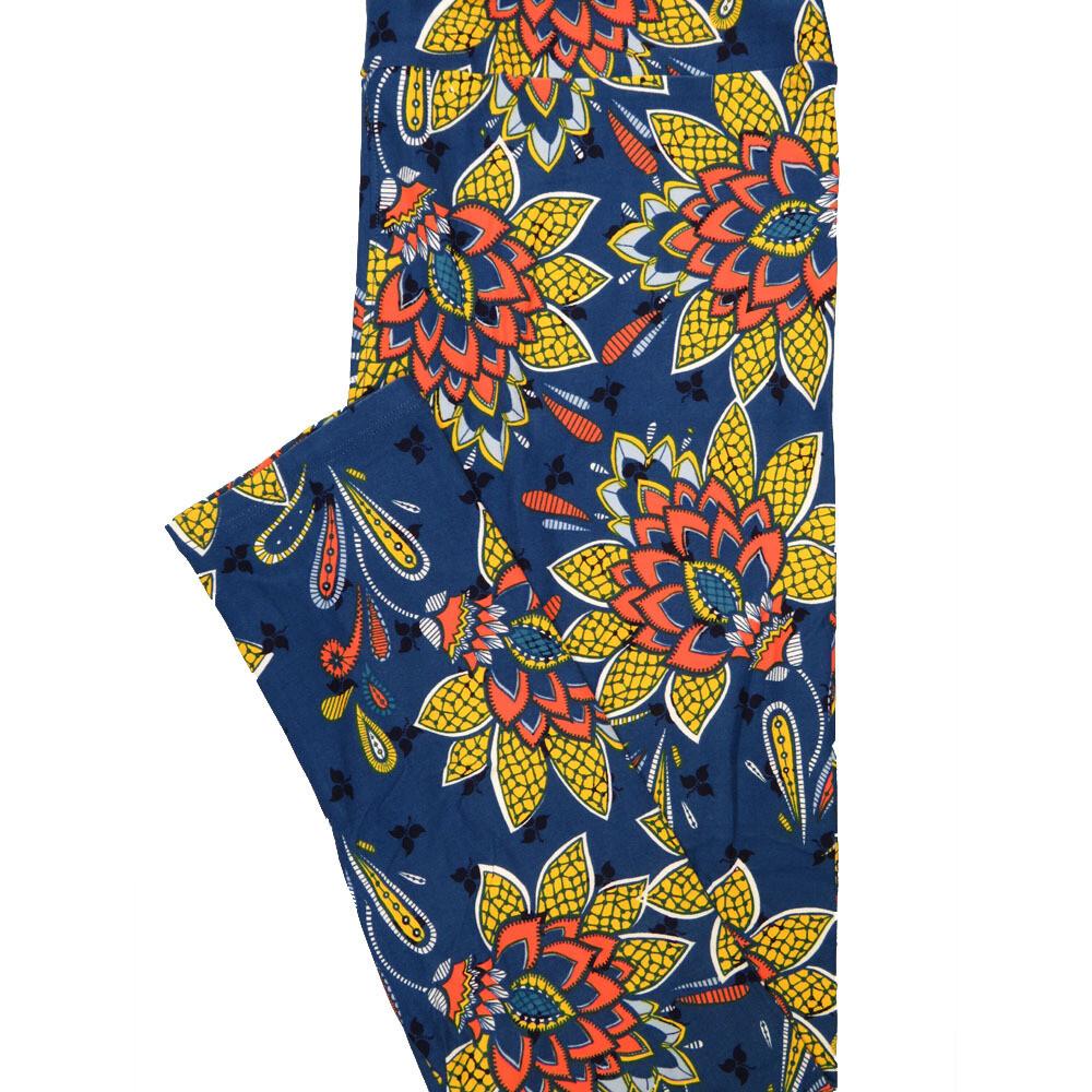 LuLaRoe Tall Curvy TC Floral Paisley Pineapple Slate Blue Orange Yellow Navy Leggings (TC fits Adults 12-18) TC-7221-G