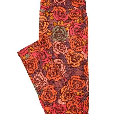 LuLaRoe Tall Curvy TC Black Orange Pink Roses Floral Leggings (TC fits Adults 12-18) TC-7220-A