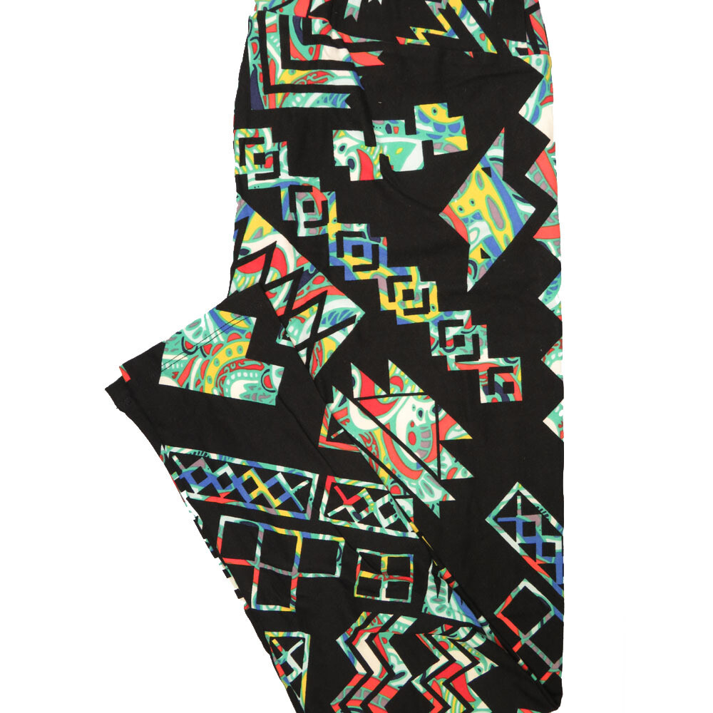LuLaRoe Tall Curvy TC Paisley Geometric Black Yellow Teal Leggings (TC fits Adults 12-18) TC-7221-C