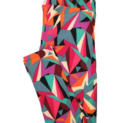 LuLaRoe Tall Curvy TC Black Cream Orange Fucshia Geometric Leggings (TC fits Adults 12-18) TC-7221-A