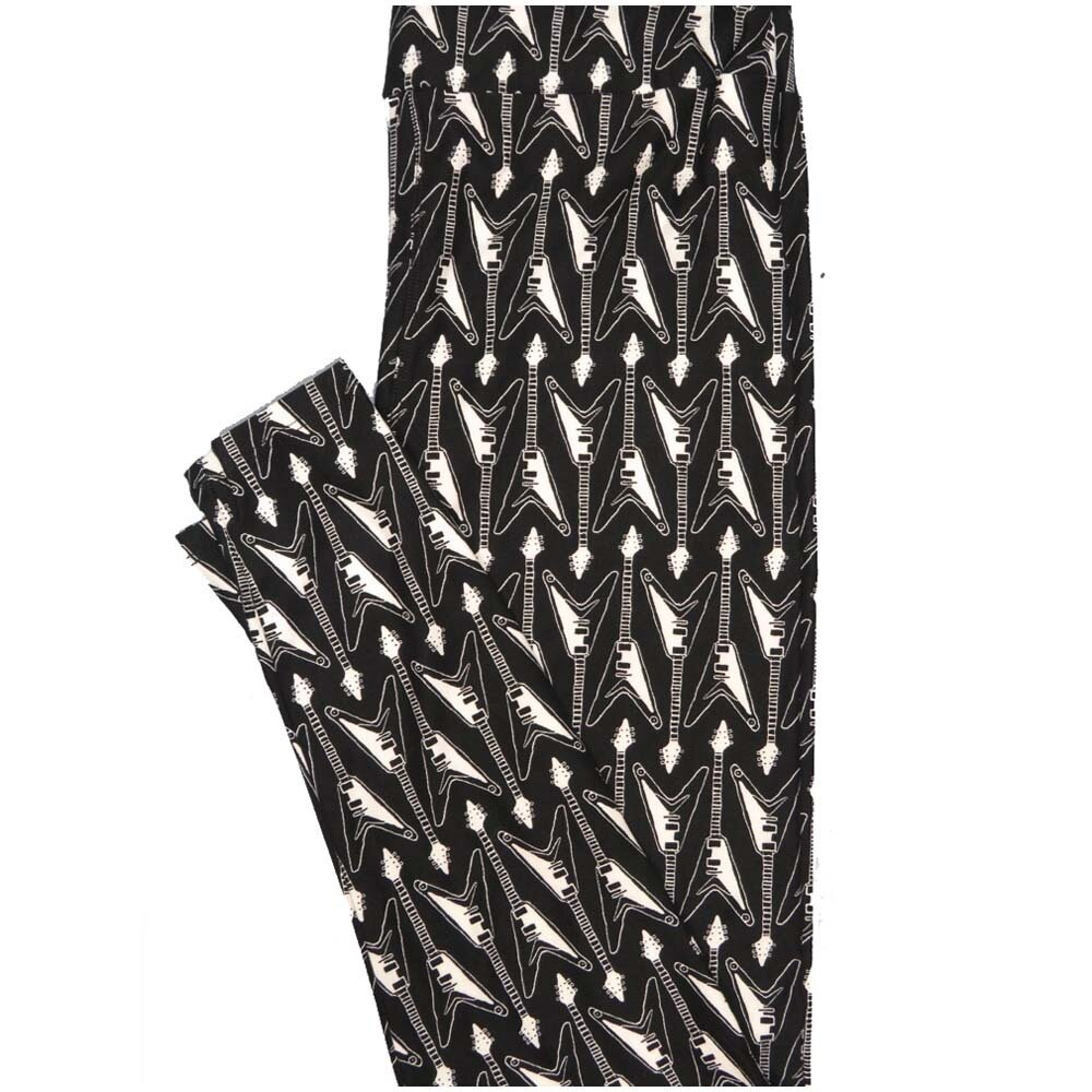 LuLaRoe One Size OS Guitars Black White Buttery Soft Leggings - OS fits Adults 2-10