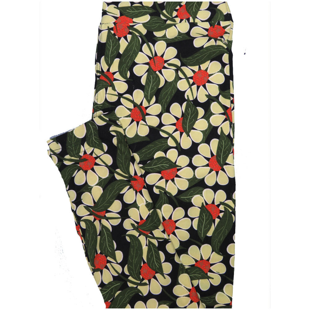 LuLaRoe One Size OS Black Green Cream Coral Daisy Floral Buttery Soft Leggings - OS fits Adults 2-10