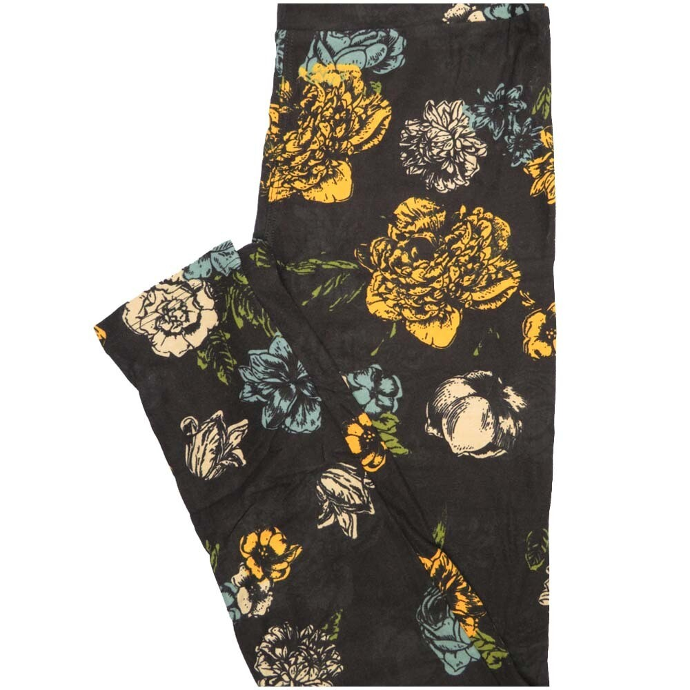 LuLaRoe One Size OS Black Yellow Black Cream Floral Buttery Soft Leggings - OS fits Adults 2-10