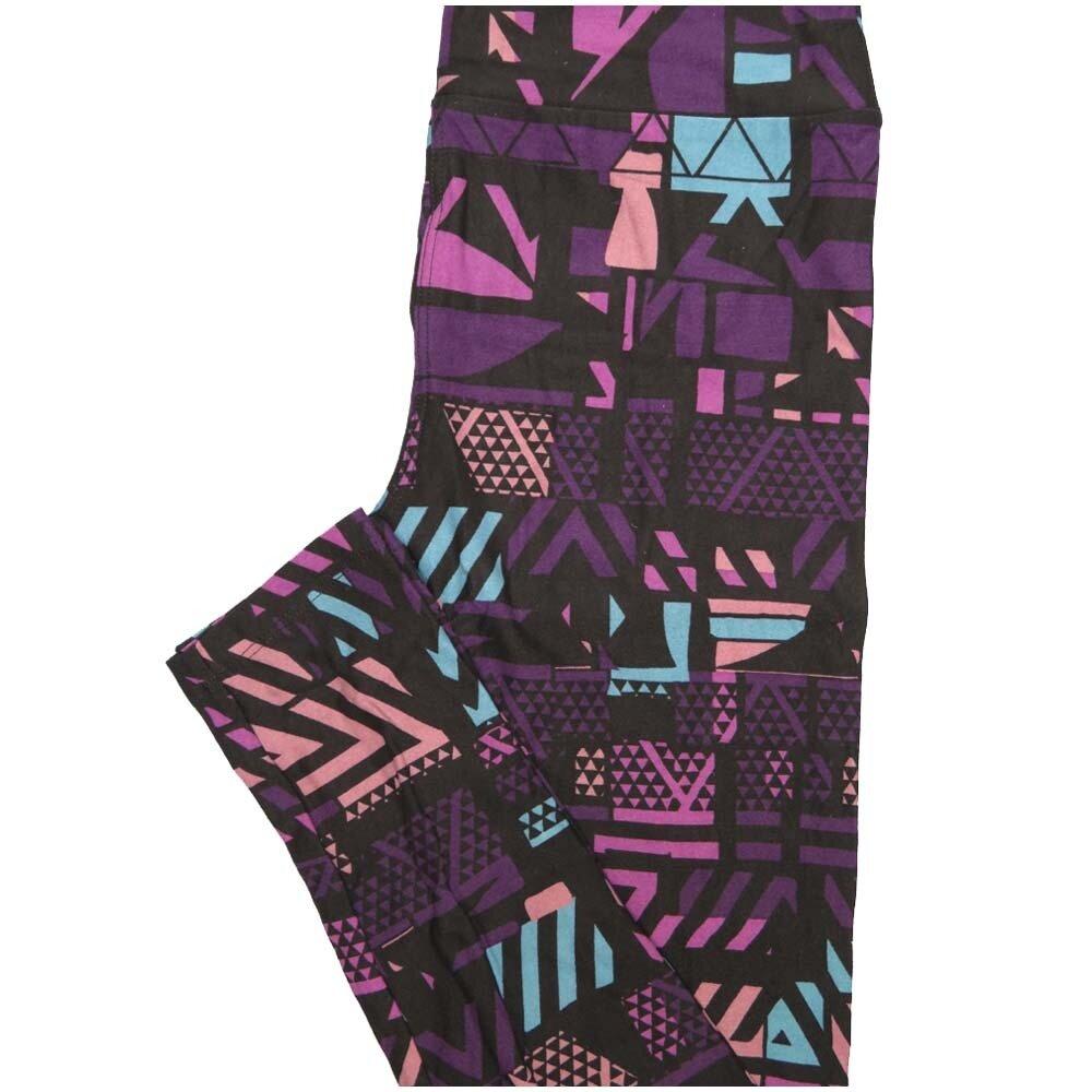 LuLaRoe One Size OS Black Purple Pink Blue Geometric Buttery Soft Leggings - OS fits Adults 2-10