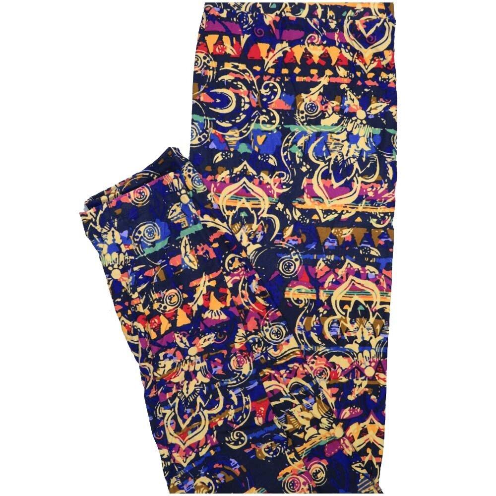 LuLaRoe One Size OS Fleur de Lis Blue Black Yellow Red Purple Stripe Paisley Buttery Soft Leggings - OS fits Adults 2-10