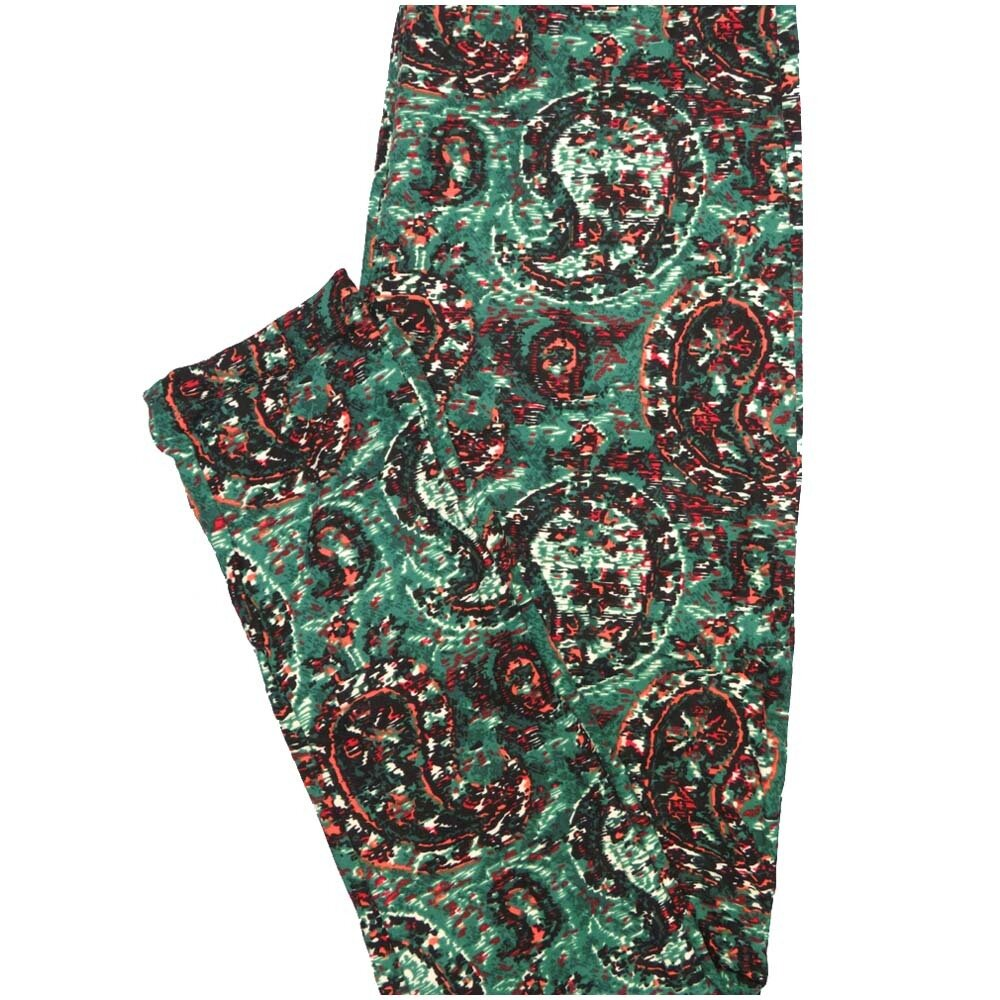 LuLaRoe One Size OS Paisley Green White Coral Black Paisley Buttery Soft Leggings - OS fits Adults 2-10