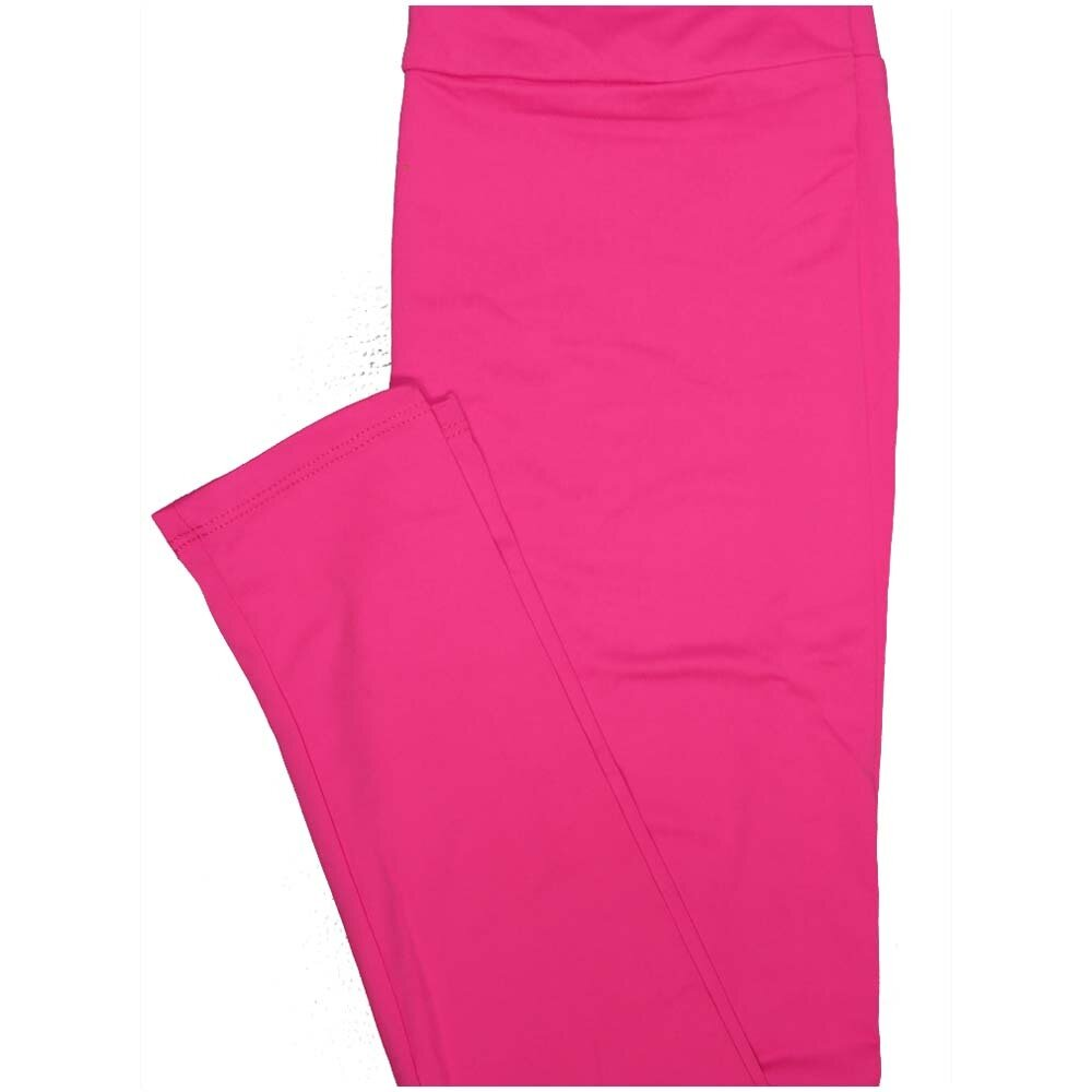 LuLaRoe One Size OS Solid Neon Dark Pink So Buttery Soft Leggings - OS fits Adults 2-10